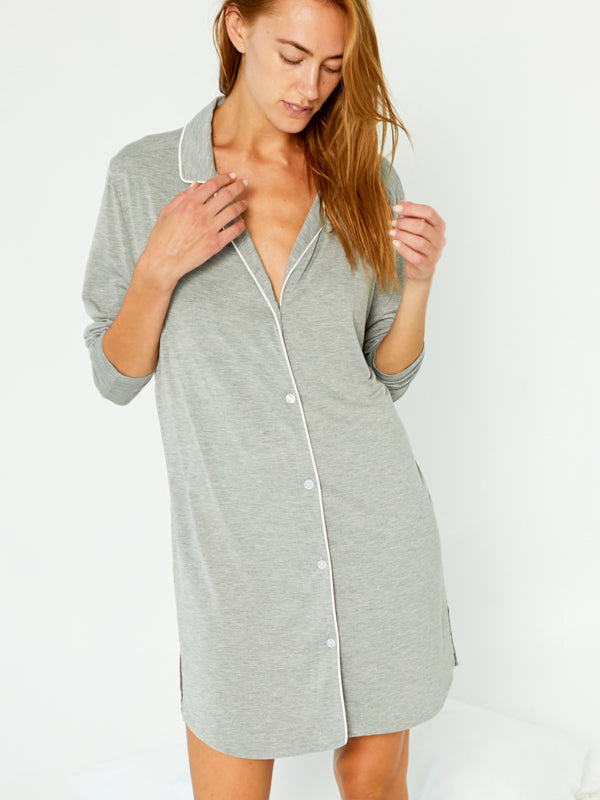 PJ Shirt Dress - Brushed Grey