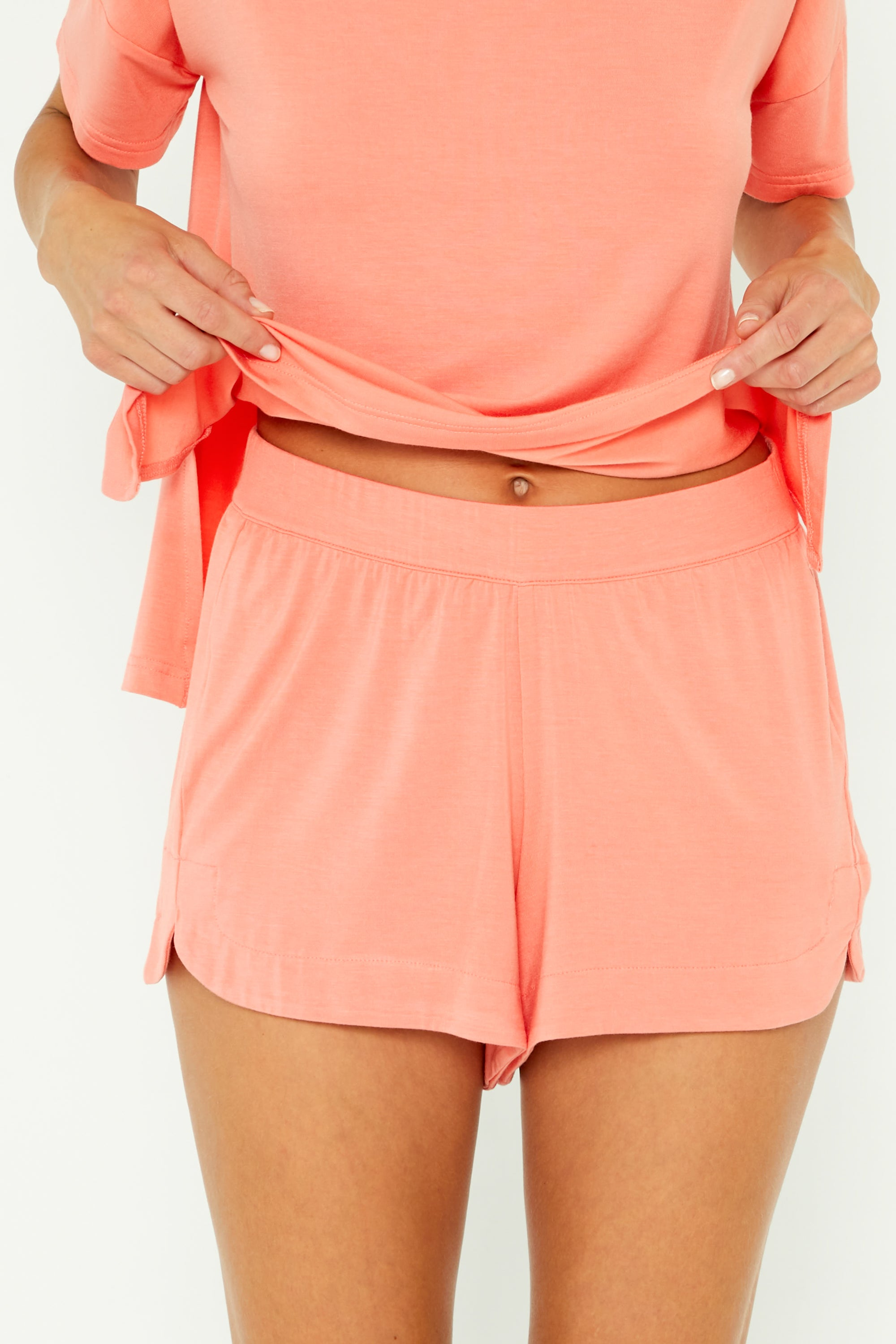 Super-stretch Sleep Short - Neon Coral