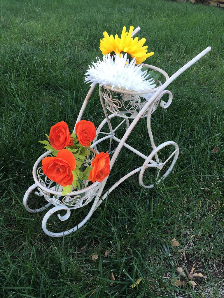 Antique White Iron 2 Handled Shaped Double Basket Planter Holder