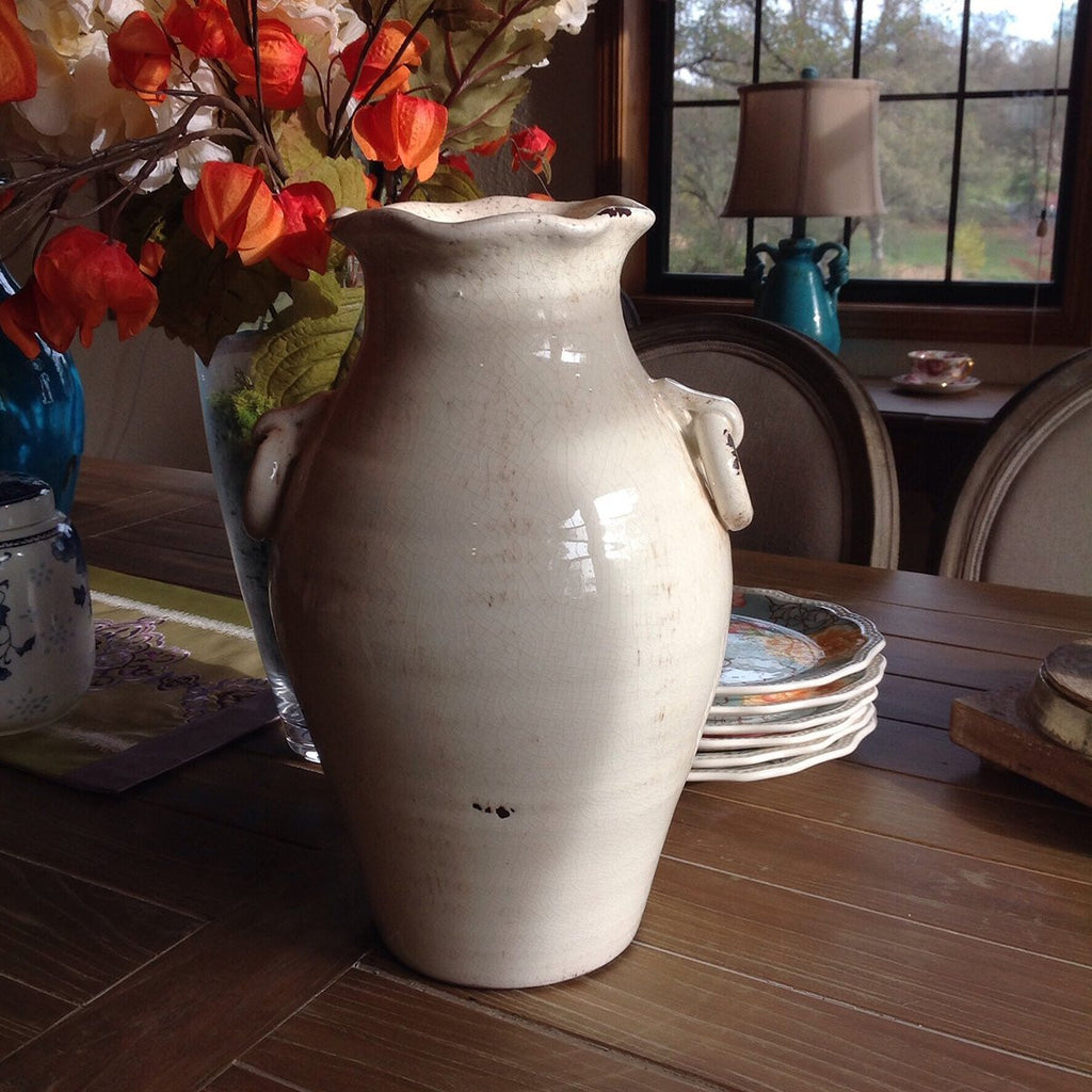 Vintage Old World Hand Thrown Water Jug with Faux Ring Handles.  2 colors available
