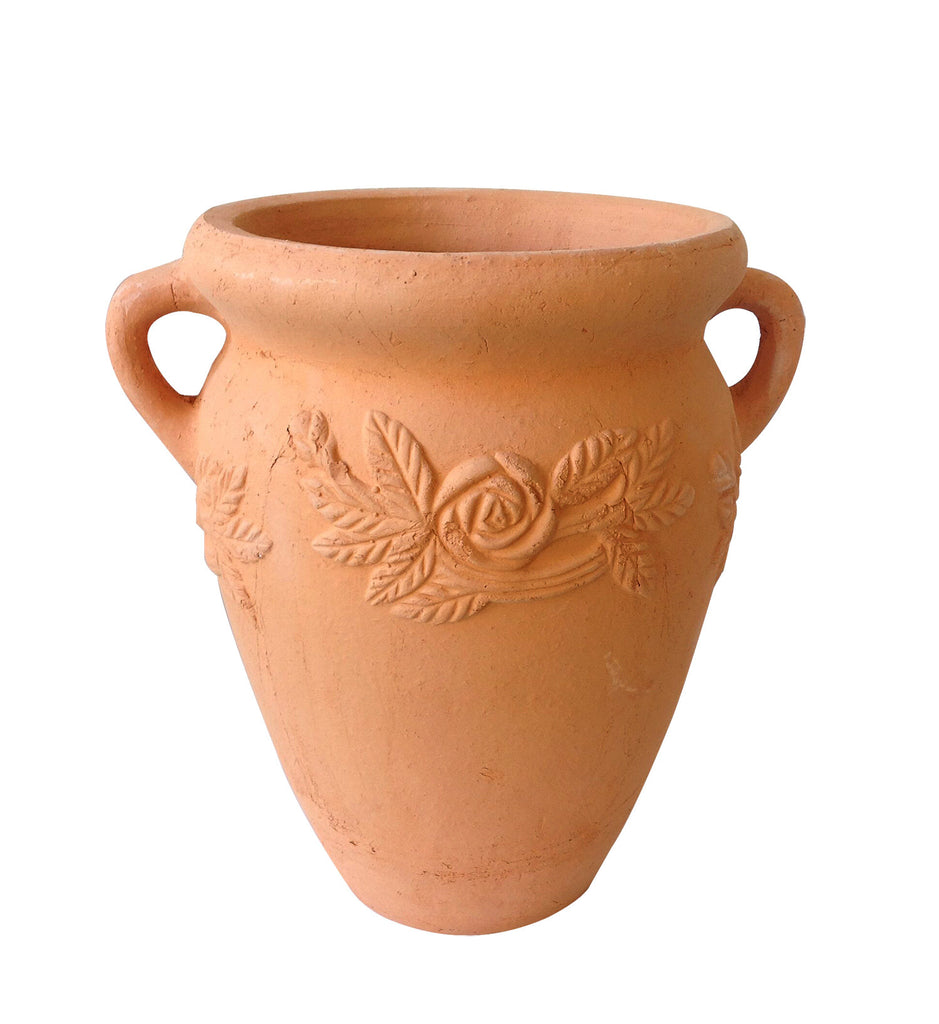 Hand Pressed Ancient Stressed Terracotta Round Flower Pot