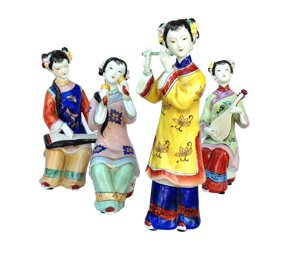 Set of 4 Fine Oriental Art Hand Painted Porcelain Ming Era Lady Figurines