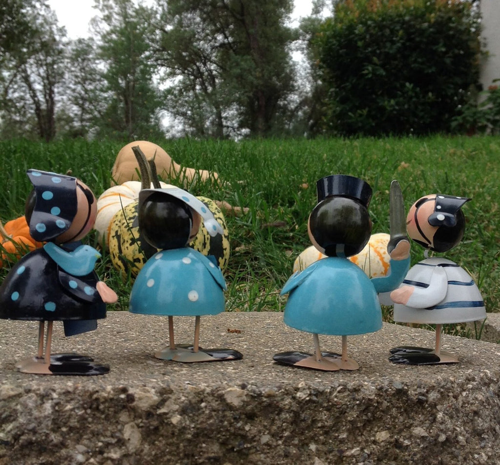 Whimsical Set of 4 Darling Hand Painted Metal Pirate Figurines for Any Occasion