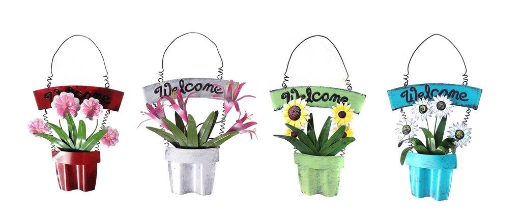 Decorative Shabby Chic Welcome Sign with Floral Planter, 4 Colors Available.