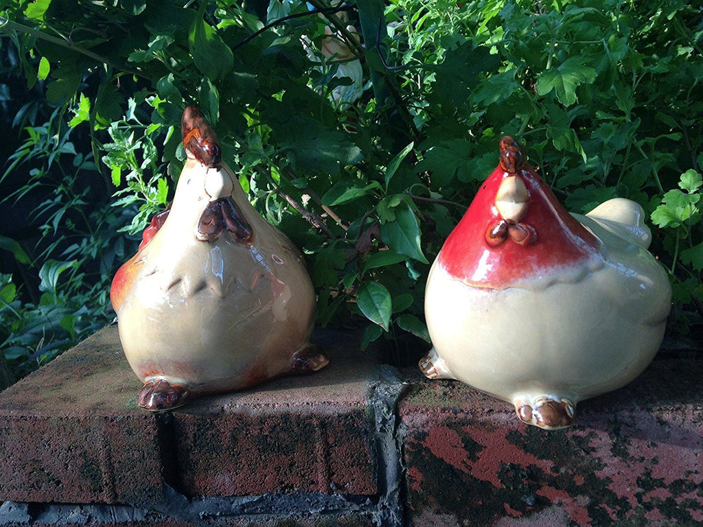 Set of 2 Country Ceramic Rooster and Hen Couple Figurines