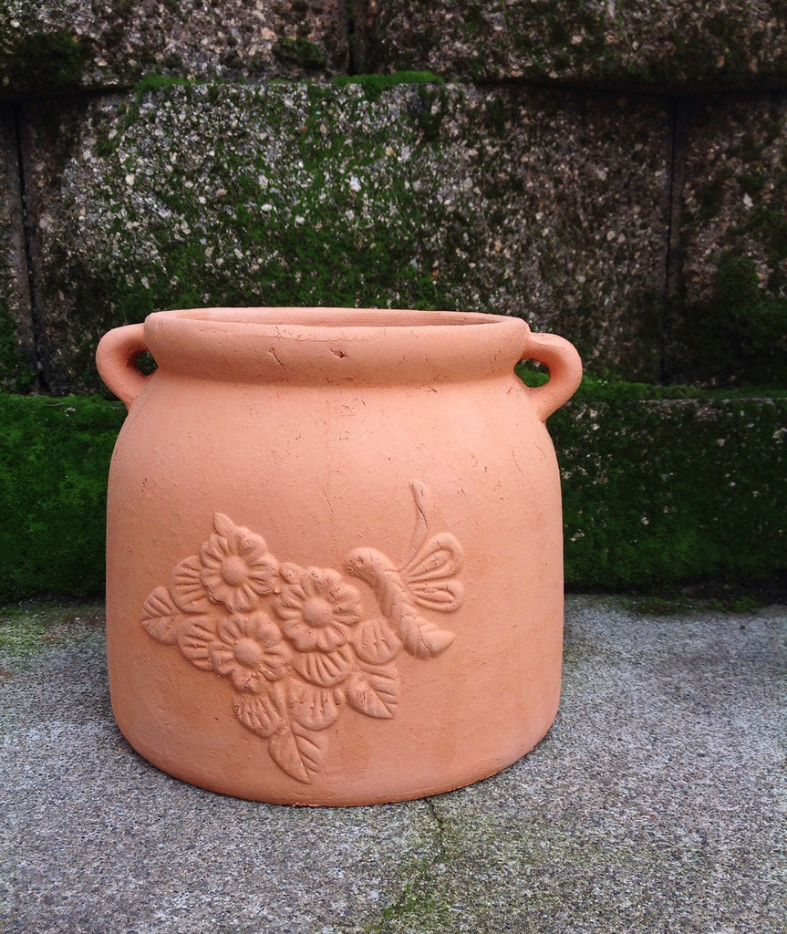 2 Colors available. Heavy Hand Pressed Flower pots with Dragonfly embellished