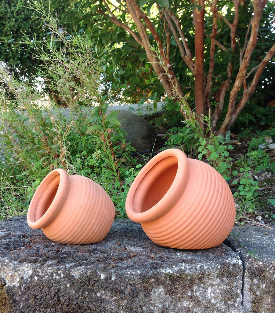 Small Pair Set of 2 Different Size Natural Terracotta Fallen Pots or Planters or Hanging Pots,