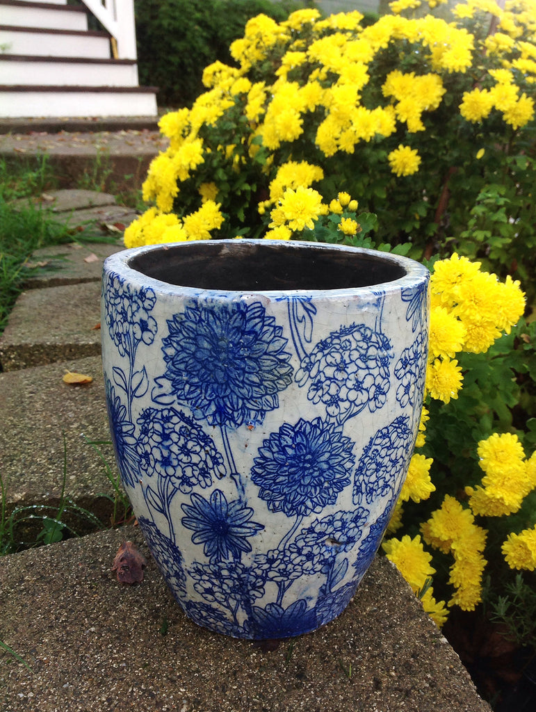Old world vintage blue and white ceramic garden planter 3 different designs available