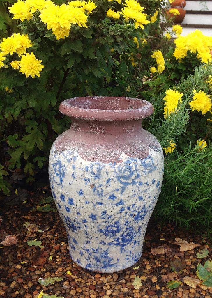 Vintage blue and white ceramic vase.