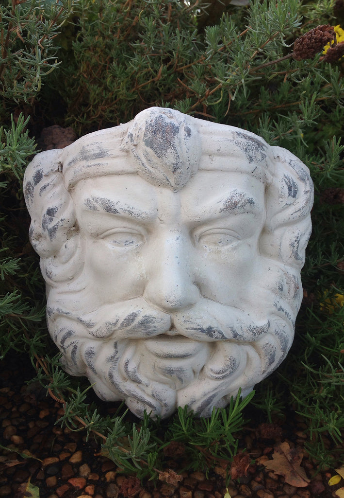 Vintage Greek God Head Wall Hung Planter in Old World White Finish