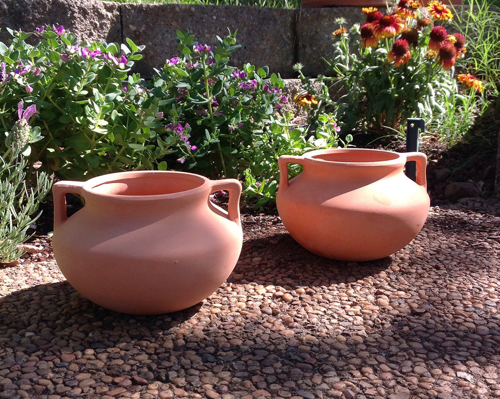 Newly Designed Set of 2 Small Natural Terracotta Round Pots with Handles
