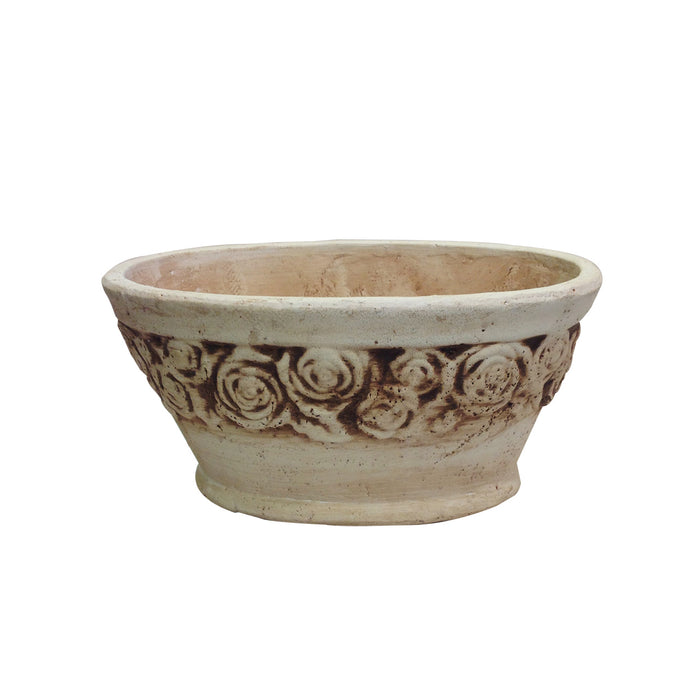Old world hand-pressed ceramic vintage white flower pot with embellished roses
