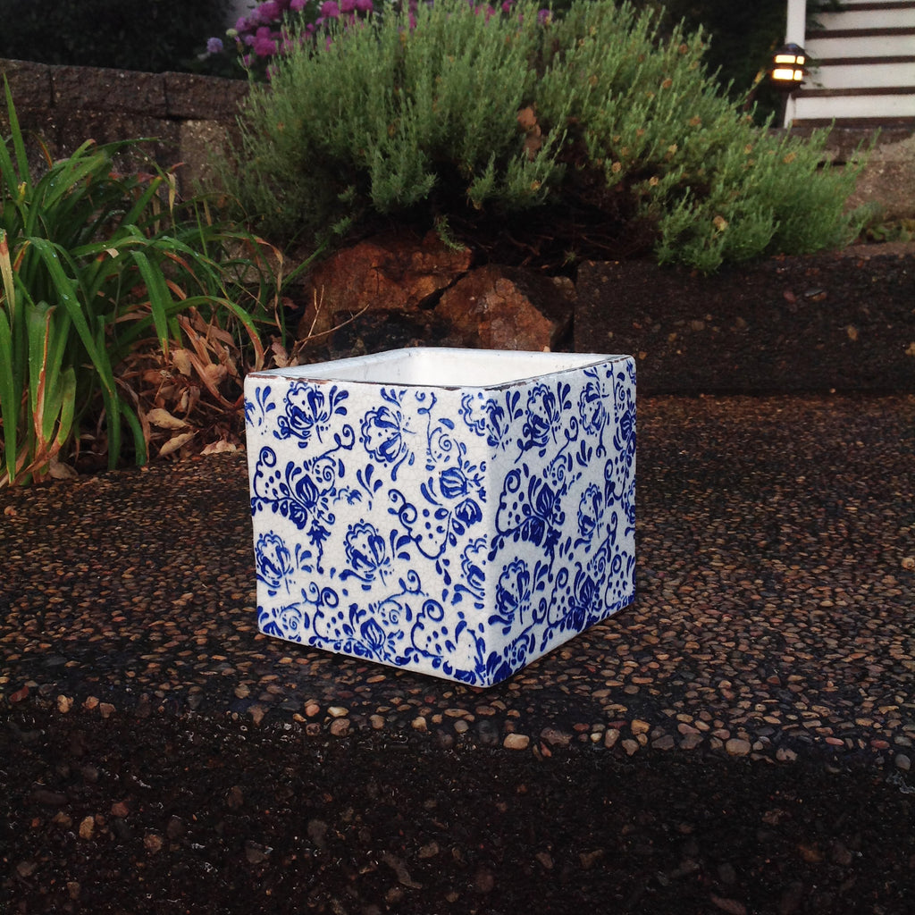 Old world hand-pressed ceramic square flower planter