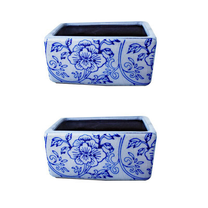 Set of 2 Small Old World Blue and White Floral Rectangle Pots