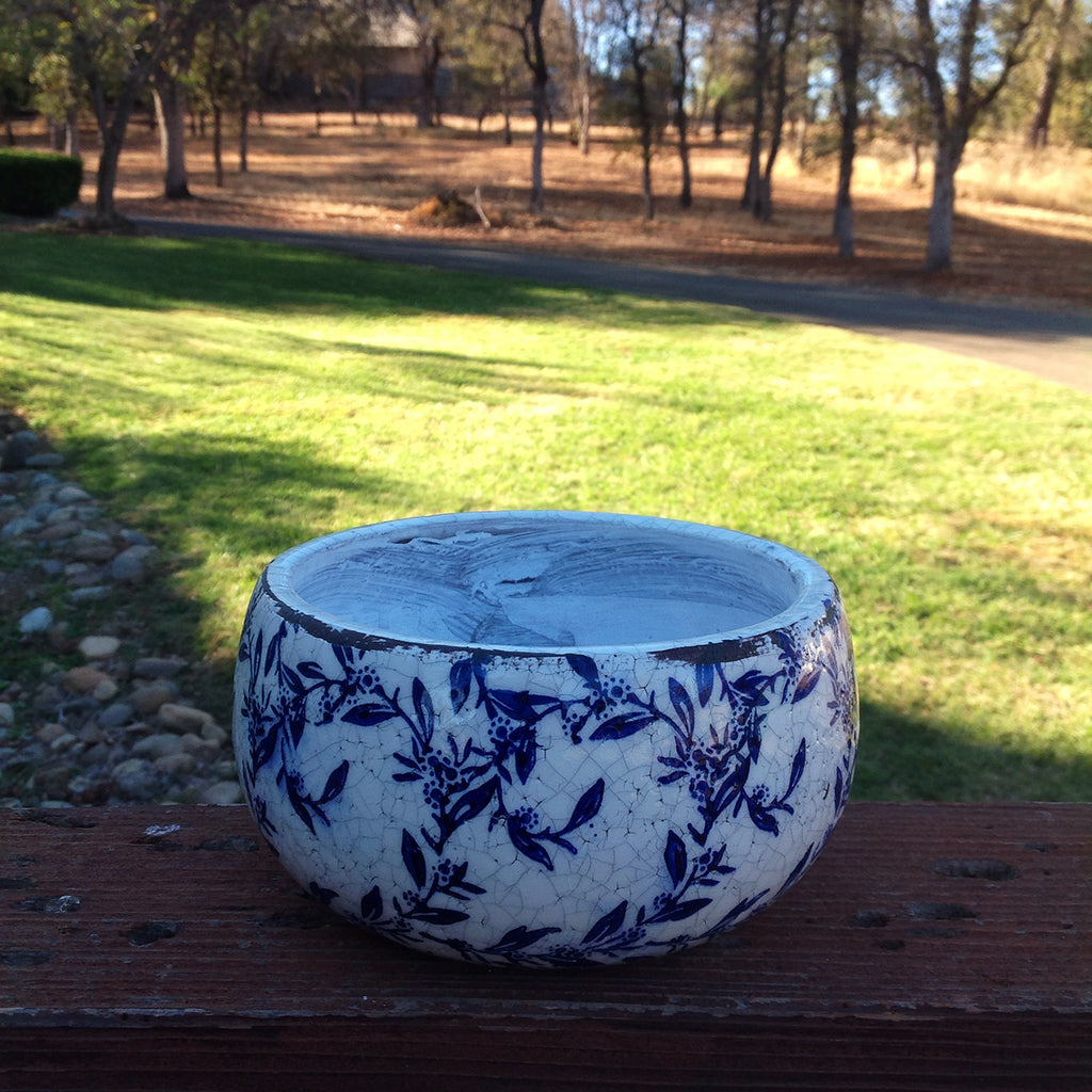 Old world hand-pressed blue and white ceramic floral garden pots, in 2 sizes with 2 prints