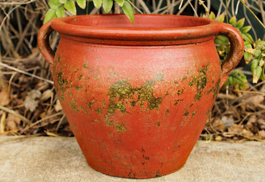 Egyptian Era Designed Earthen Ware Terra-Cotta Vessel/Planter with Looped Handles. 3 colors available