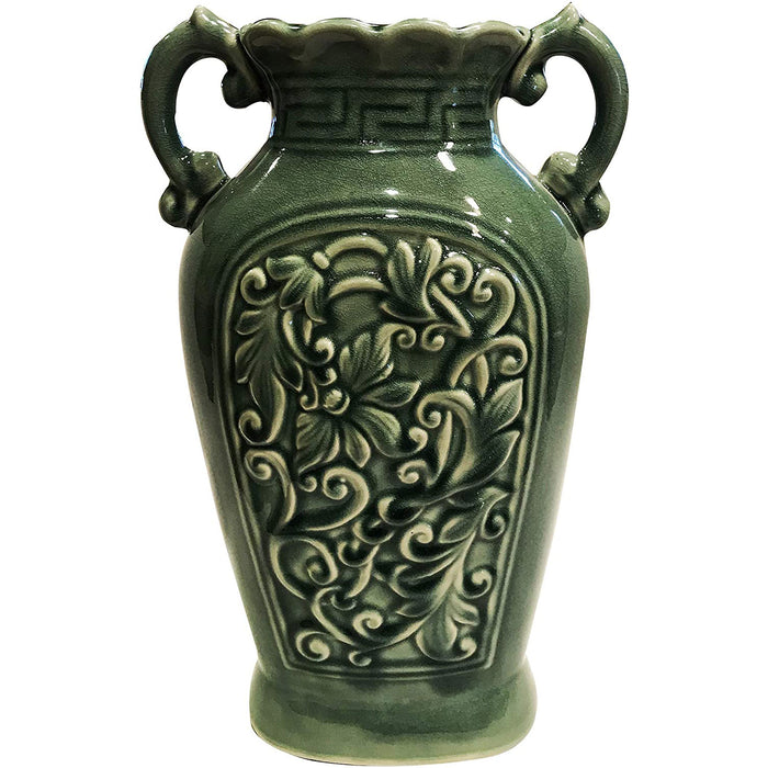 Fine Ceramic Porcelain Green Ancient Aged Floral Embellished Asian Water Container