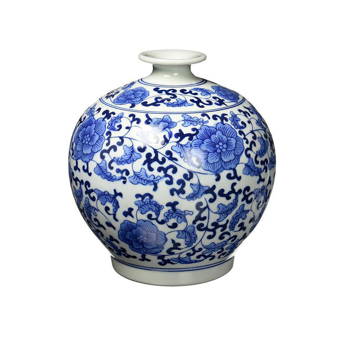 Classic Chinese Vintage Blue and White Floral Globe Porcelain Decorative Vase