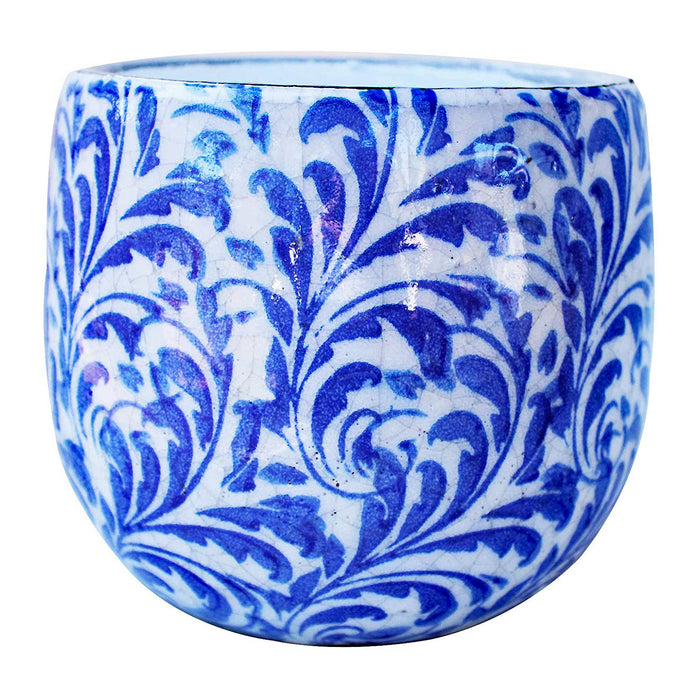 Old World Ceramic Blue and White Feather Pattern Fat Belly Round planters