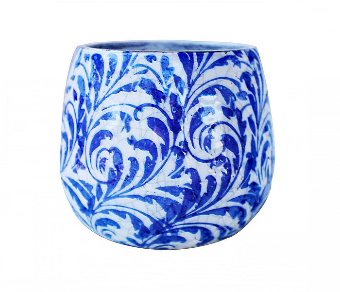 Blue and White Feather Tapered Round Planters or Garden Pots