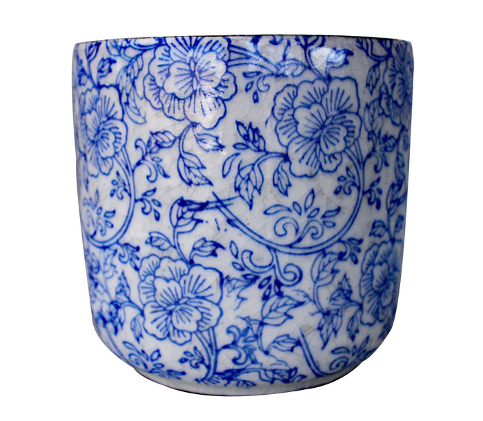 Old World Ceramic Blue and White Flower Pattern Cylindrical Planters