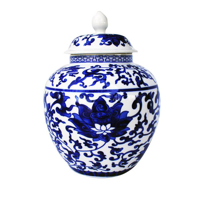 Large Blue and White Porcelain Tea Storage Helmet-shaped Temple Jar