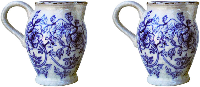 Set of 2 Old World Ceramic Blue and White Flower Pitcher Shaped Planters
