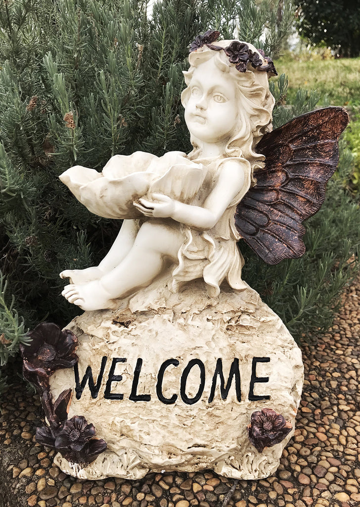 Poly Resin Little Cherub Girl Angel Sitting Atop a 'Welcome' Sign