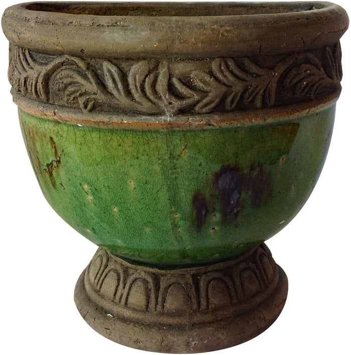 Old world hand-pressed terracotta glazed hanging pot 3 colors available