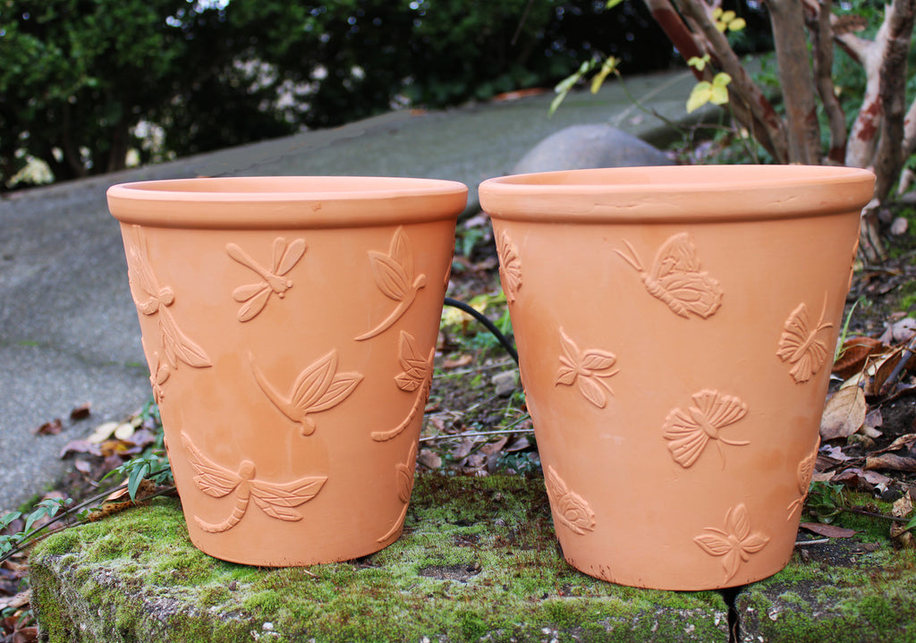 Large Set of 2 Natural Terracotta Garden Pots Butterfly and Dragonfly Embellished