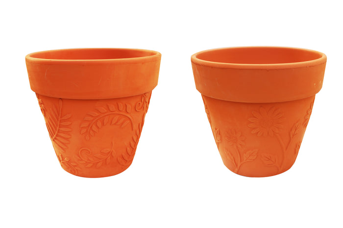 Large Set of 2 Terracotta Garden Pots, Sunflower and Leaves Embellished