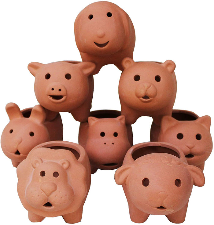 Set of 8 Adorable Terracotta Mini Animal Shaped pots . 8 Creatures Available.