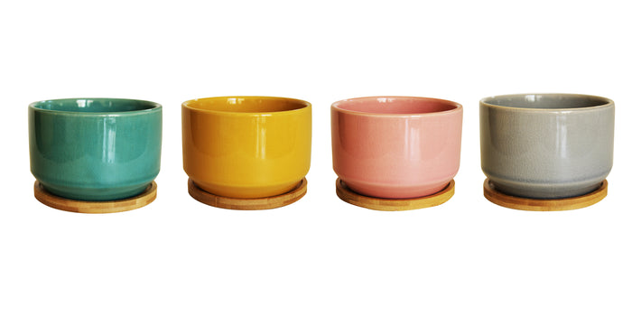 New Set of 4 Multi Colored Ceramic Garden Pots with Individual Trays for Indoor or Outdoor use