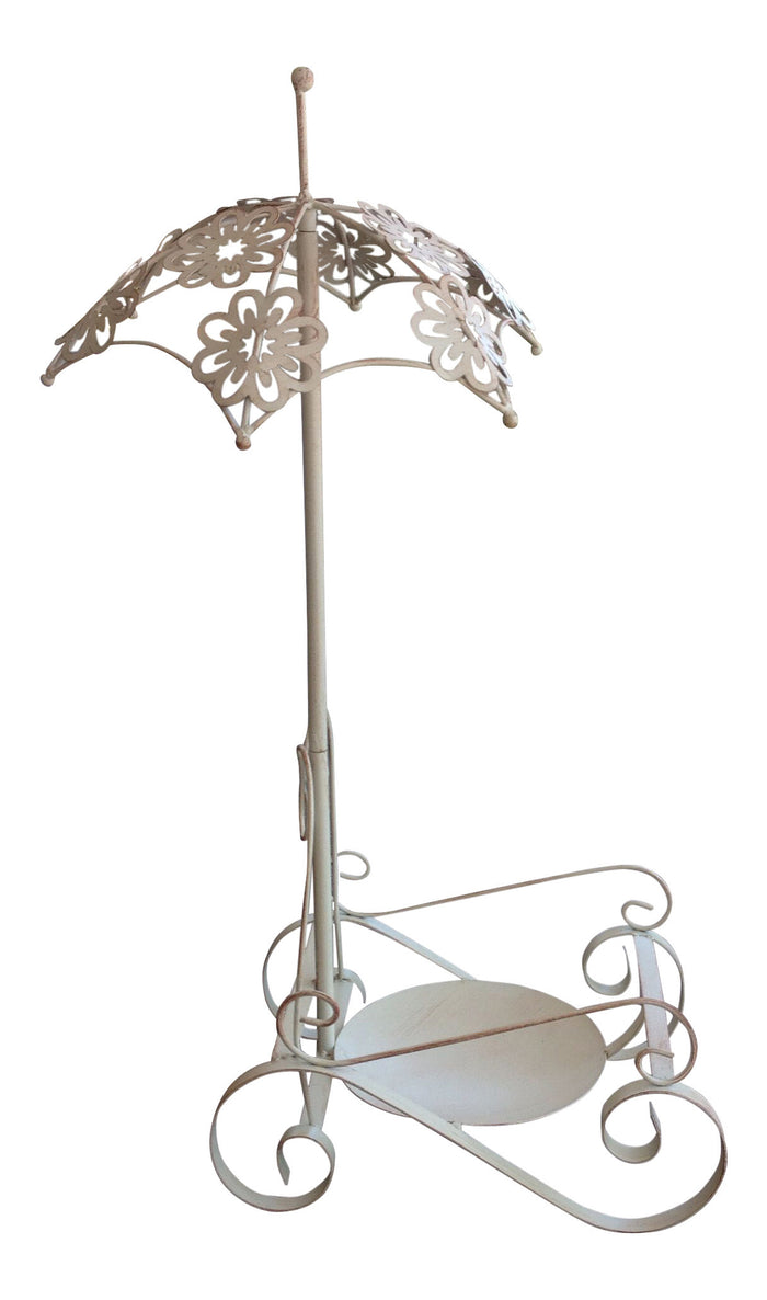 Antique Cream White Iron Plant Stand or Planter Holder with Floral Umbrella Highlight