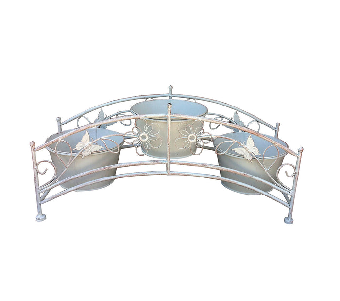 Antique White Iron Shaped Bridge with Three Planter Holders
