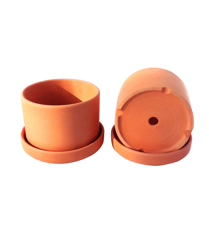 Natural Terracotta Round Fat Walled Garden Planters with Individual Trays.
