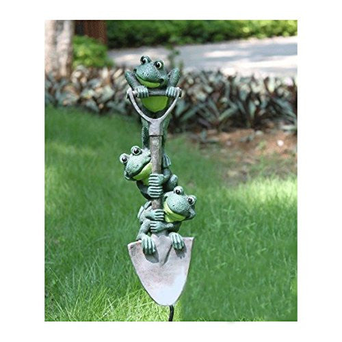 Charming Poly Resin Frogs on a Shovel Garden Stake or Spike, BACK TO STOCK