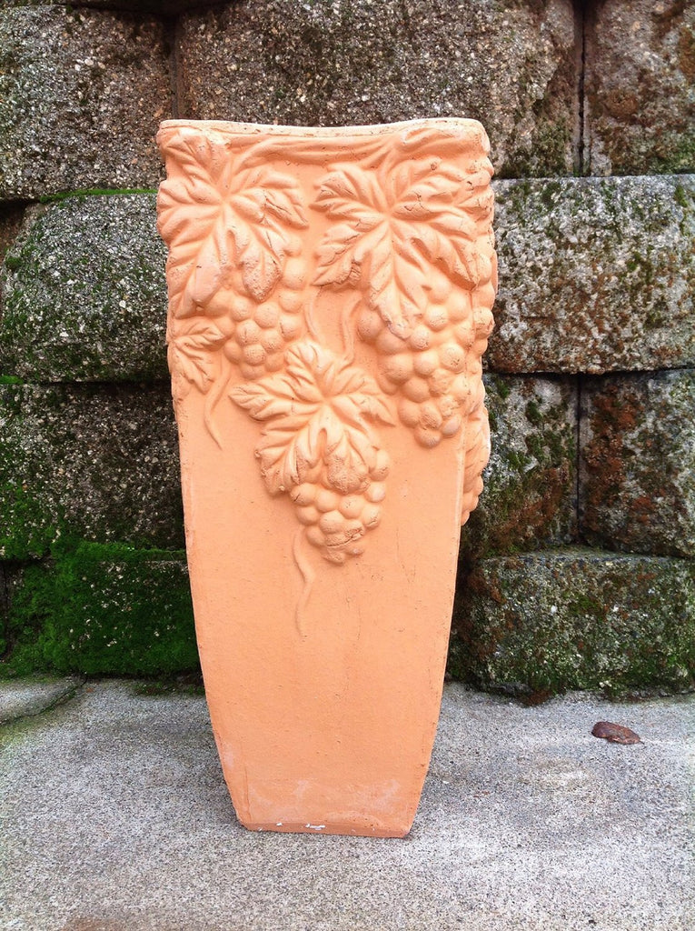 Tall Hand Pressed Ancient Terracotta Square Grapevine Embellished Flower Planter