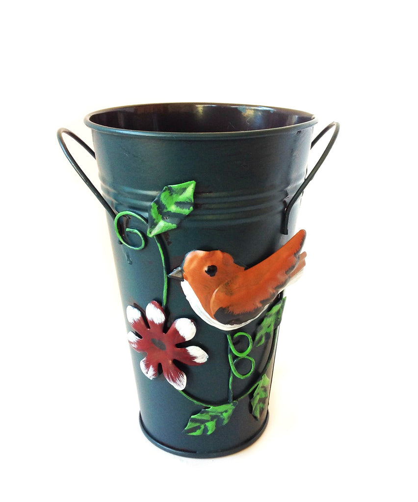 Handmade Iron Vase or Planter or Holder with Raised Accents, available in 6 colors