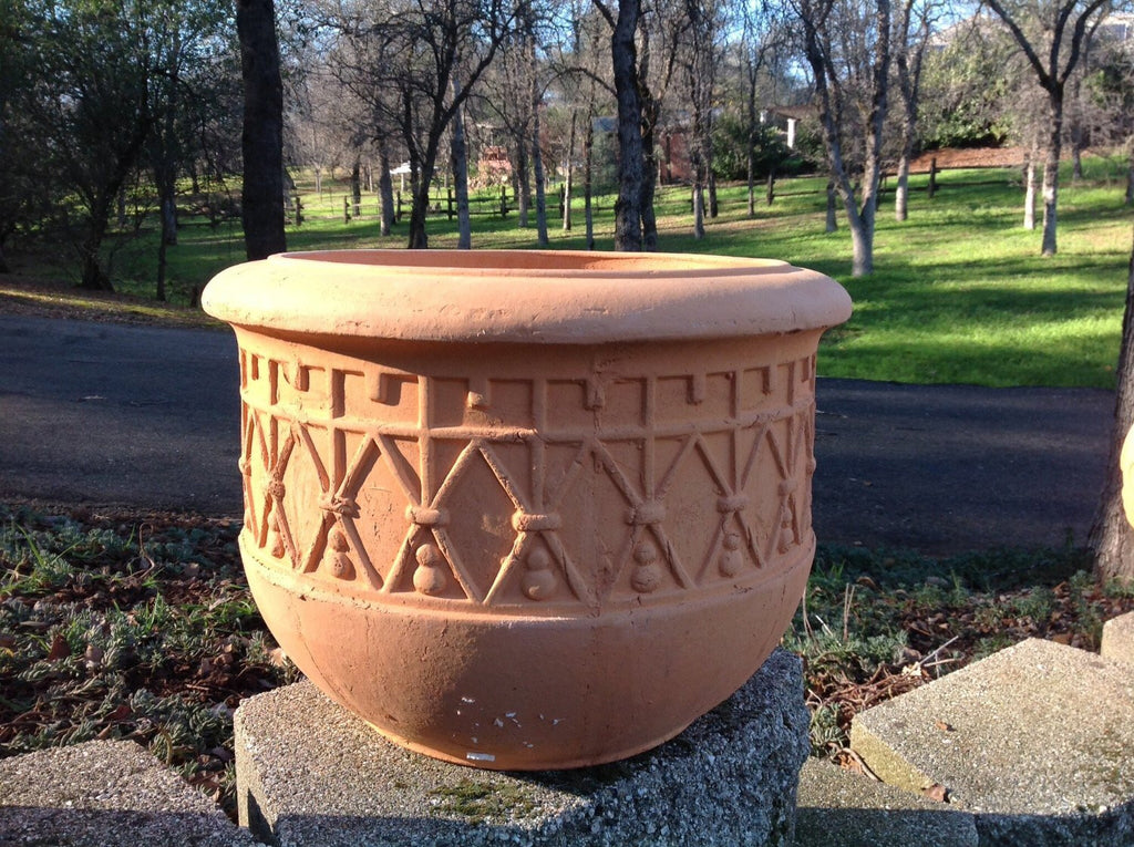 Large Heavy Hand Pressed Natural Terracotta Garden Planter
