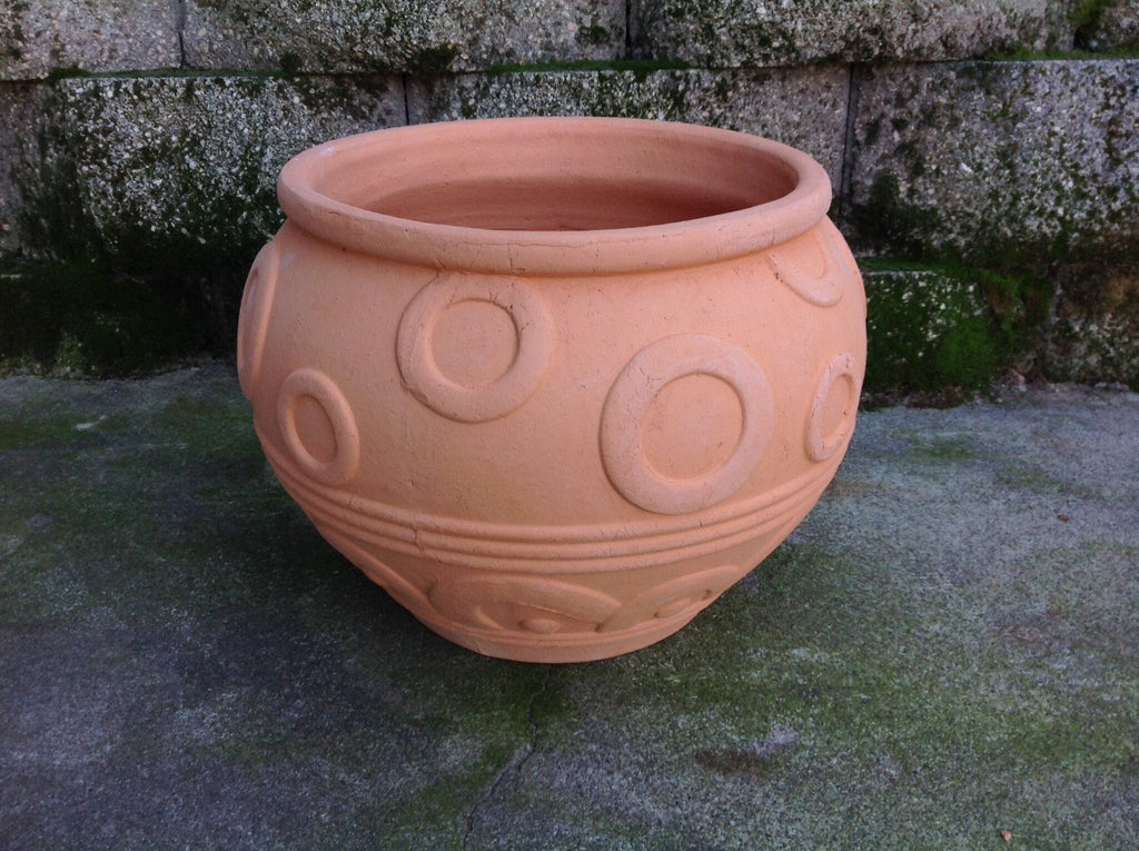 Large Heavy Hand Pressed Natural Terracotta Round Garden Planter