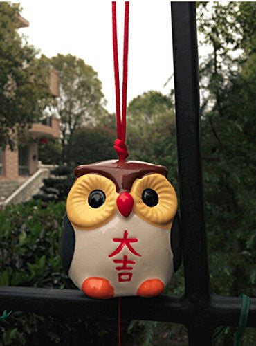 Ceramic Hand Painted Japanese Lucky 'Fukuroh' Owl Wind Bell