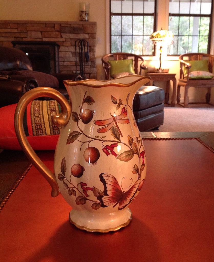 Cream Floral with Butterfly Ceramic Decorative Beautiful Vase or Pitcher