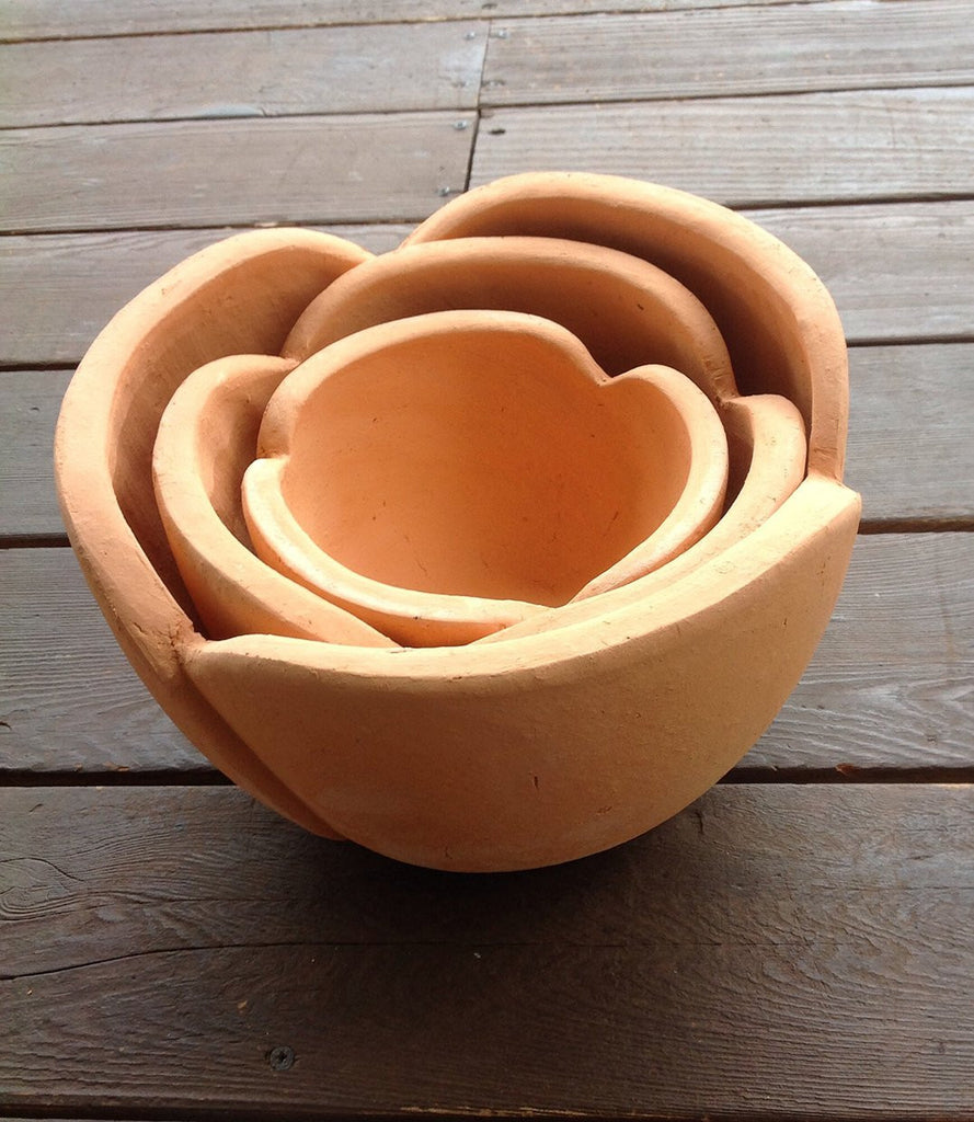 Hand Pressed Ancient Stressed Terracotta Petal Shaped Flower Pot 3 Sizes available