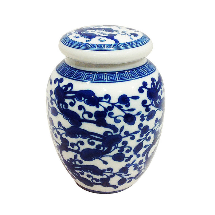 Blue and White Chinese Floral Pattern Porcelain Tea Storage Container 2 sizes available