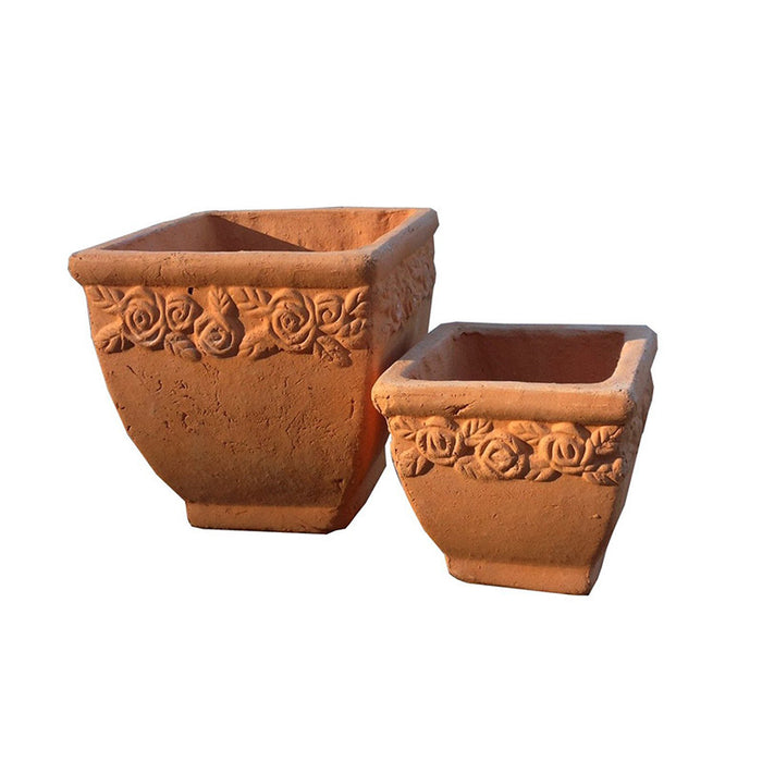 Set of 2  Hand Pressed Different Sized Ancient Stressed Terracotta Square Planter