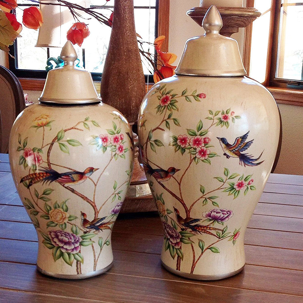 Elegant Cream Floral Highlighted Storage Jar or Urn for the Designer Home, 2 sizes available