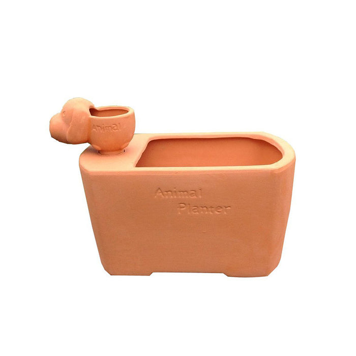 Fun Natural Terra Cotta Flower Planter with Different Animal Shaped Watering Spike