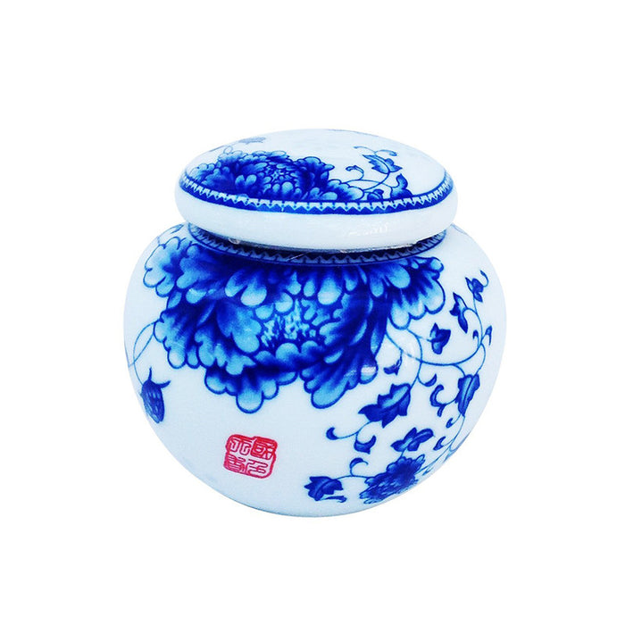 Classic Blue and White  Porcelain Tea Container or Kitchen Storage Unit (Round )