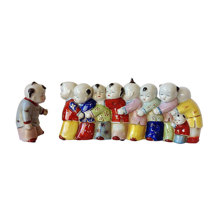 Oriental Porcelain Ming Era Boys and Girls Figurines